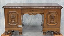 English oak Jacobean style kneehole desk, carved apron, fruit carved doors, with losses, 30