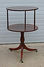 English Duncan Phyfe style 2-tier library table, top swivels, overall height 42