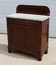 Empire marble top 2-door cabinet with one drawer, mahogany splashback, 37