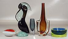 5 pcs contemporary glassware to include: signed gray-blue Orrefors vase, unsigned bird (chipped), vase, and 2 ashtrays, tall 15-1/2