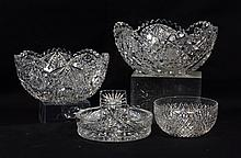 4 pcs cut glass to include: 2 bowls, small diamond-point bowl, and butter tub, largest: 9