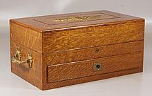 Brass mounted oak box with lift lid and drawer, satin lined, 18-1/2
