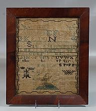 Alphabet sampler with deer and crowns, initials at bottom right, 12