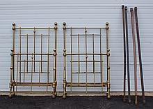 Pr brass twin beds, c 1900, 36