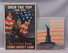 (2) Pair of Original World War I Liberty Bonds posters: Sidney H. Risenberg, colored lithograph,