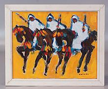 Mohammed Khiari, Moroccan, b. 1962, o/canvas, Men on Horseback, SLR,  9 3/4