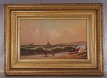A.M. Myers, 19th Cent. , o/canvas, Seascape, in original 19th Cent. gilded frame, 12