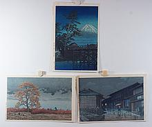 (3) 20th Cent. Japanese Prints, Colored Woodblocks, Raining in town, 9 1/2