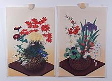 (2)  20th Cent. Japanese Prints, Colored Woodblocks,  Floral Still-Life, both 15 1/4