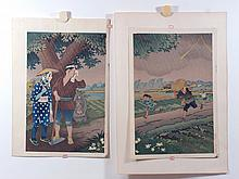 (2) 20th Cent. Japanese Woodblocks, both unframed, Running through Rain, 14