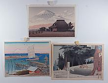 (3) 20th Cent. Japanese woodblocks, all unframed, Scene of Mt. Fuji, 9 1/2