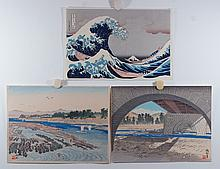 (3) 20th Cent. Japanese Prints, Colored Woodblocks, all unframed, Waves, 9 1/2