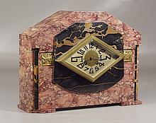 French Art Deco marble & onyx mantle clock, inlaid with bronze floral plaques, 14