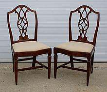 Pair of Adams style chairs with shaped front seats and tapered legs, 38