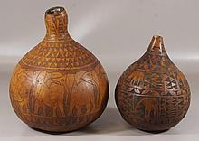 (2) Carved gourds, both with animal decoration, largest 15