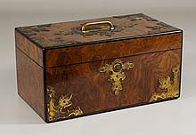 English brass mounted burled wood box, lock stamped Bramah London, 12-1/2