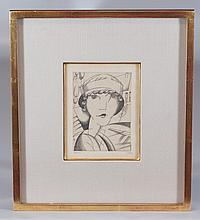 Jean-Emile Laboureur, French, 1877-1943, Engraving, Portrait of Woman, 1917, Ed. 7/40, P/S LL,  5 1/4