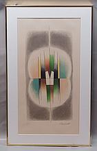 Paul Mansouroff, Russian, 1896-1983, color lithogaph, Geometric Abstract, Artist'sProof, P/S, LR, 25 1/4