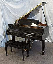 J Strauss and Son black lacquer baby grand piano, Model GJ-52, SN KB8022, 60