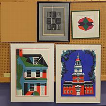 (4) Betsy Bates, American, 20th Cent, Serigraph prints, dated 1974, Betsy Ross House Ed. 37/100 and Independence Hall Ed. 44/200, 31...