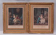 (2) Louis Marin Bonnet, French, 1736-1793, Hand-Colored Mezzotint,