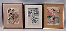 (3) 19th Cent. Japanese prints, Colored Woodblocks, Geishas, some areas of discoloration, creasing, and minor surface loss, sight si...