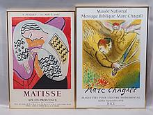 (2) Pair of Posters printed by Fernand Moulot, French, 1895-1988:  Marc Chagall, Russian, 1887-1985, Lithogrpah poster, Musee Nation...