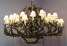 Patinated metal 24 arm 2 tier Victorian style chandelier, plastic faux alabaster underdome, 72