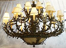 Patinated metal 24 arm 2 tier Victorian style chandelier, 54