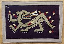 Xavier Velasquez, Mexican, 20th Cent., wool and Oaxaca Cochineal-dyed tapestry, original design: Jaguar, 37