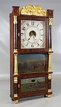 R & JB Terry triple deck column clock, gilt fruit basket crest, repainted dial, repainted crest and columns, center glass with outsi...