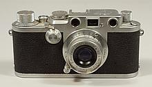 Leica IIIf 35 mm viewfinder camera, SN 644855, c 1952-53, Ernst Leitz Summaron 35 mm f 3.5 screw mount lens, SN 1308786, c 1955, wit...