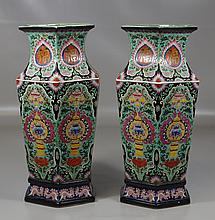Pr Hexagonal Chinese Porcelain Vases, polychrome decoration, mark to base, 17-1/2
