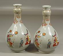 Pair of Chinese Porcelain Vases, nearly identical, depicting ladies with fans and musical instruments, 10
