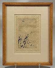 Pierre-Auguste Renoir, French, 1841-1919, dry point etching, Sur La Plage, plate size 5 3/8