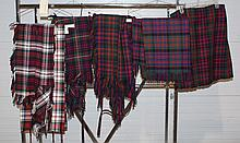 6 Scottish Textiles to include 1 McDonald Kilt, 3 traditional tartans, and 2 McDonald dress tartans