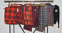 9 Scottish Textiles to include 2 McDonald colored skirt, 1 McDonald colored tartan (with extra material), 1 McDonald colored variant...