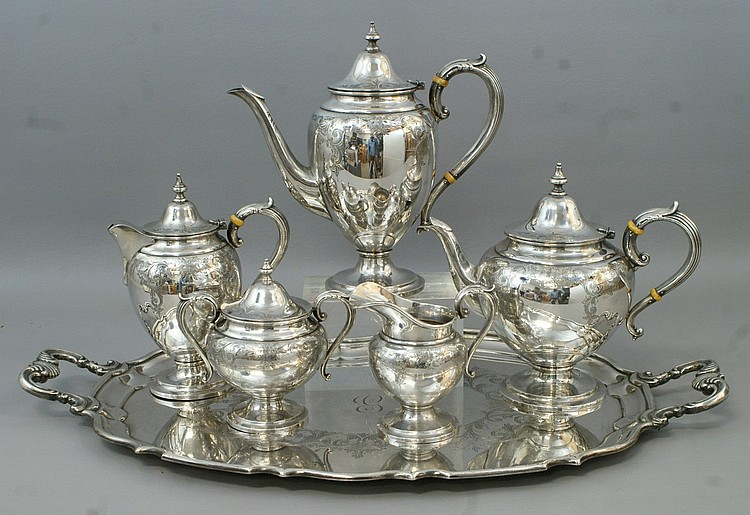 6 pc Birks sterling silver engraved pattern 66 teaset, the tray marked 54/9, all engraved, single letter