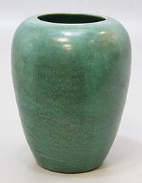 Saturday Evening Girls Pottery vase decorated in the arts and crafts style with a green semi-matte glaze, Brighton, Massachusetts, d...