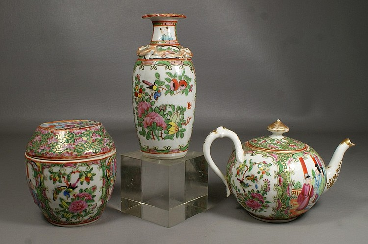 3 pcs Chinese Export Rose Medallion, consisting of a vase and a covered barrel box, together with a Chinese Decorated Limoges blank ...
