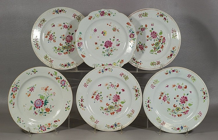 6 Chinese Export Famille Rose Plates, 9