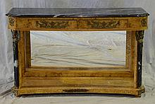 French Empire Style Birds-Eye Maple Console with petticoat mirror, 20th C, With A Black and White Rectangular Marble Top Above A Gil...