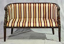 French Empire Style Parcel Gilt Settee, 20th c, Striped Upholstered Back and Seat, Height: 33