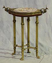 Louis XV Style Dish Top Side Table, 20th C, With Gilt Metal Mounts, Fluted Legs and Paw Feet,  29