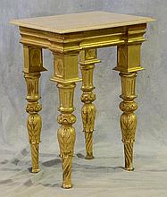 Italian Giltwood and Marble Top Side Table, 20th c, Height: 32