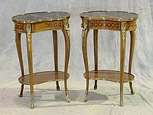 Pr of French Style Marble Top Side Tables, 20th C, With Brass Edged Marble Tops Above Gilt Metal Apron and Legs With Lower Shelf, He...