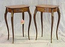 Pr of Louis XV Style Marquetry Gilt Metal Mounted Side Tables, 20th c, Height: 28
