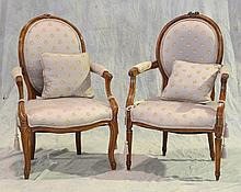 Pr of Louis XVI Style French Fauteuil Armchairs, 20th C, Height: 36