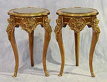 Pair of Louis XV Style Gilt Metal Mounted Side Tables, 20th C, Both With Round Green Inset Marble Tops, Height: 32
