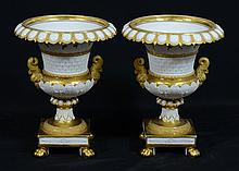 Pr of Empire Style Porcelain Campagna-Form Urns, 20th C, Both With Gilt Gadrooned Edge Rims Above Twin Applied Handles, Resting On A...